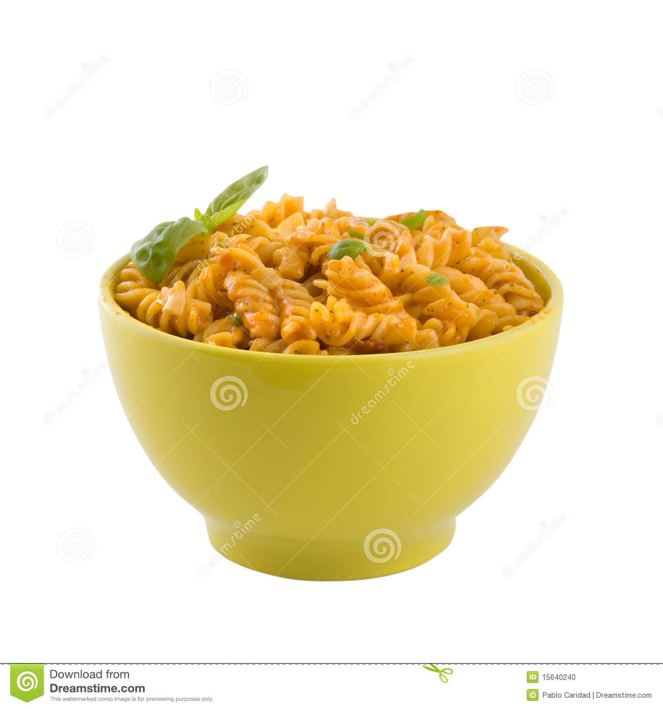 Fresh Pasta With Tomato Sauce And Basil Isolated. Stock ...