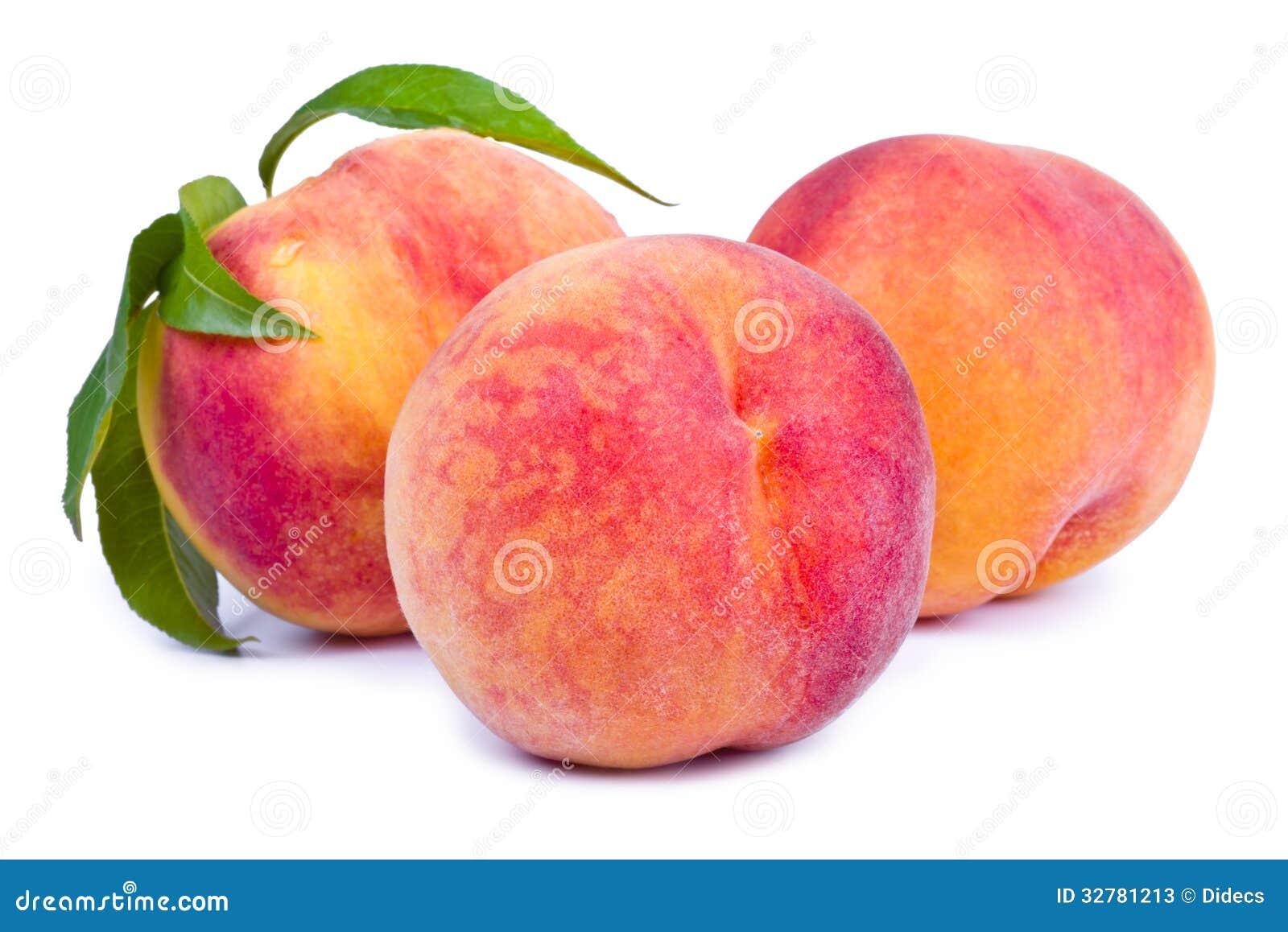 Fresh peach fruits with leaf