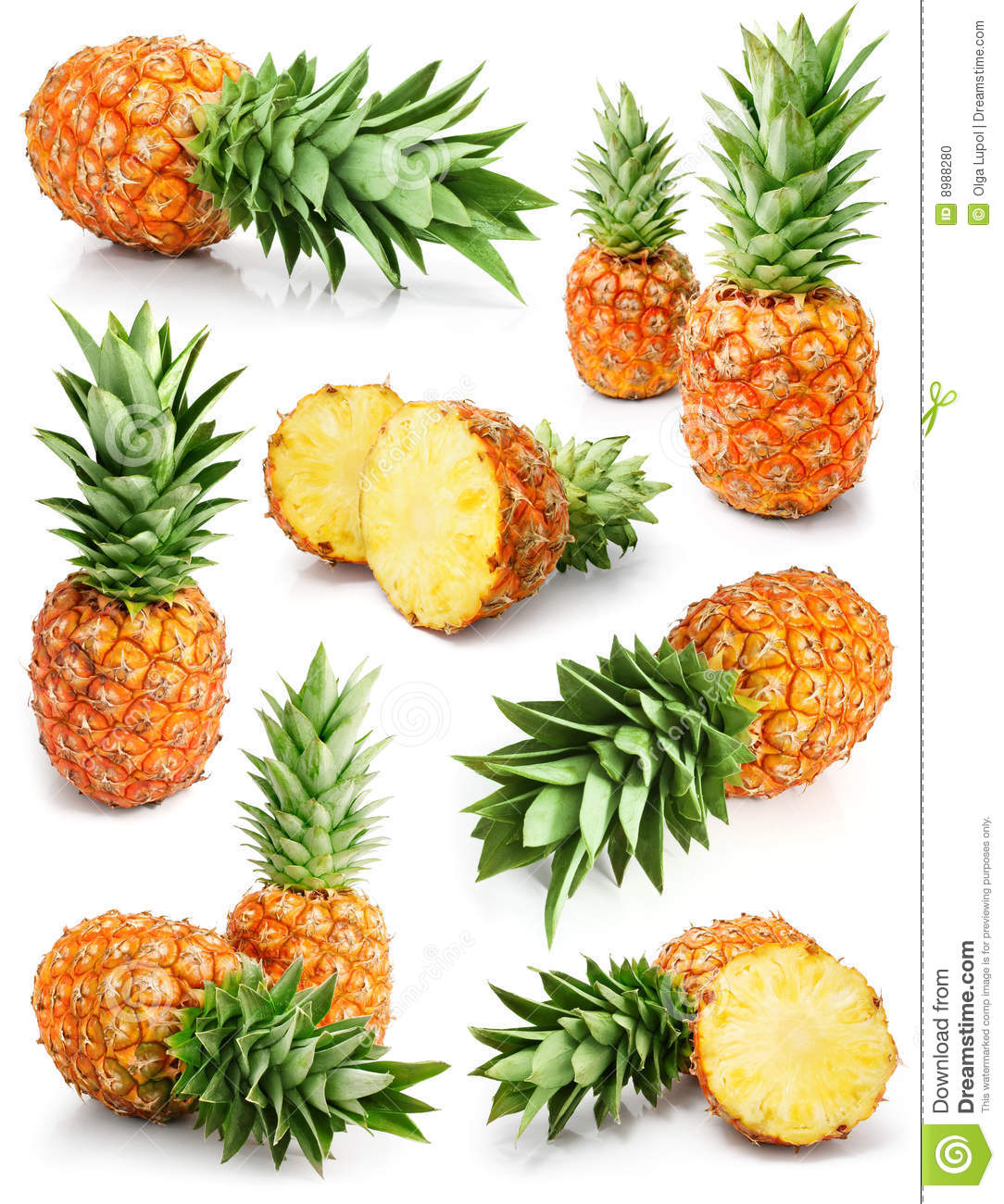 Fresh pineapple fruits with cut and green leaves