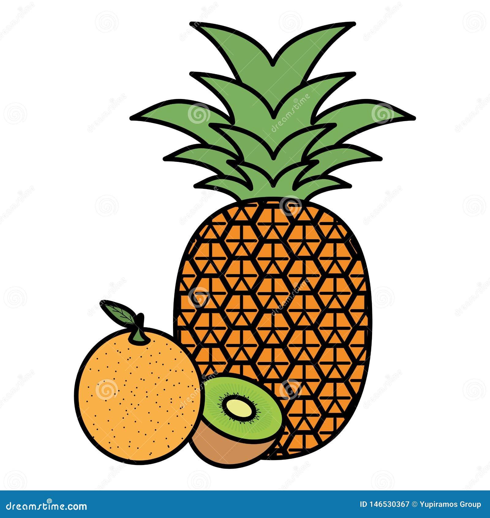Fresh pineapple and orange with kiwi