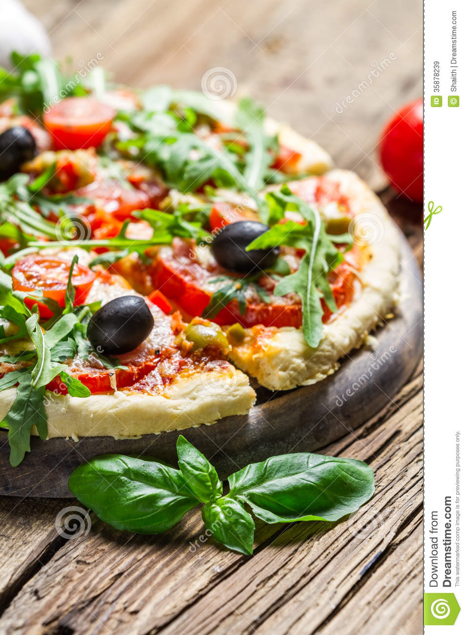 Fresh pizza made of fresh ingredients