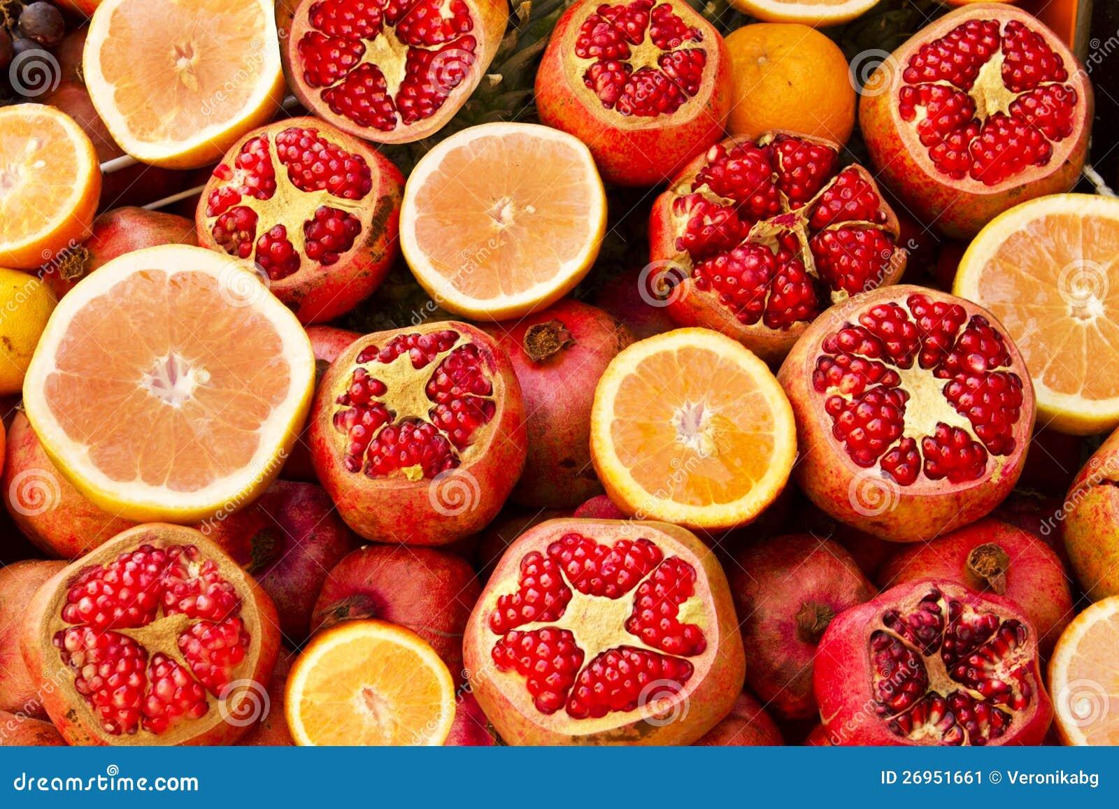 Fresh Pomegranates Grape Fruits And Oranges Stock Image