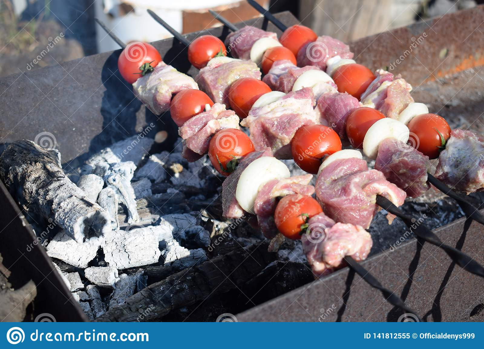 Fresh pork meat with vegetables grilled. Cooking in nature
