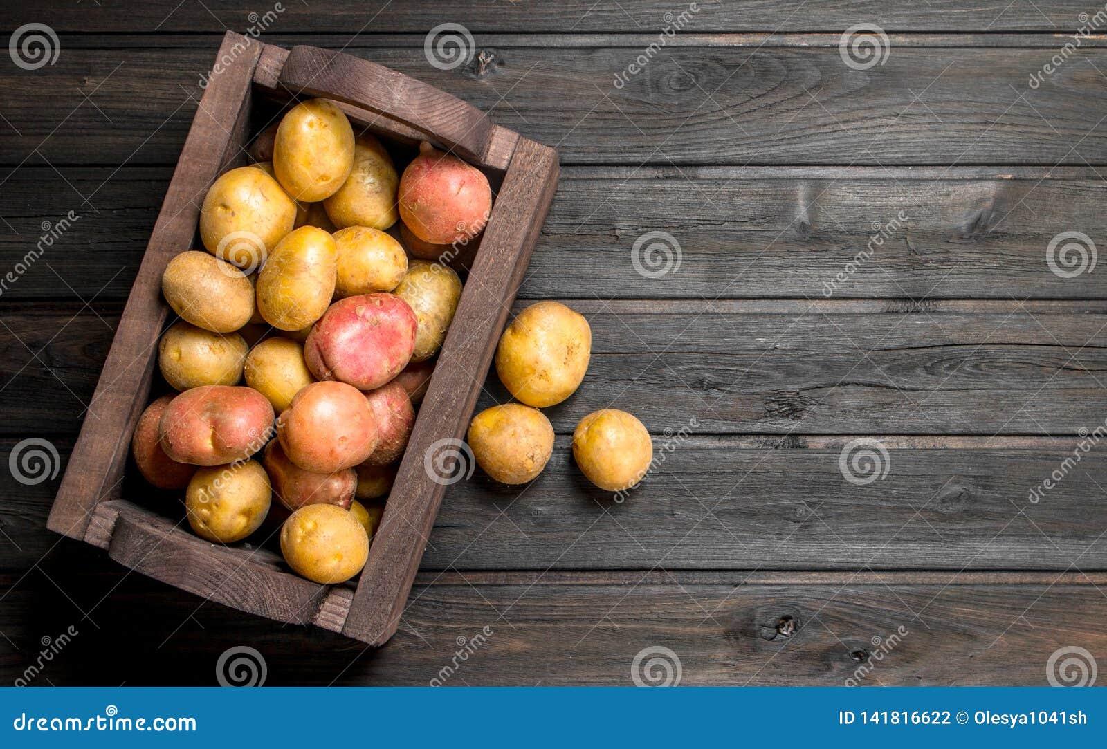 Fresh potatoes in a wooden box