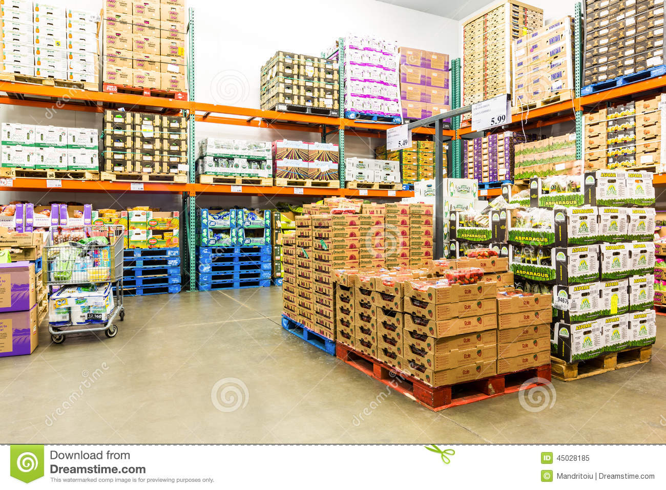 Fresh Produce Refrigerated Room In A Costco Store Editorial Image