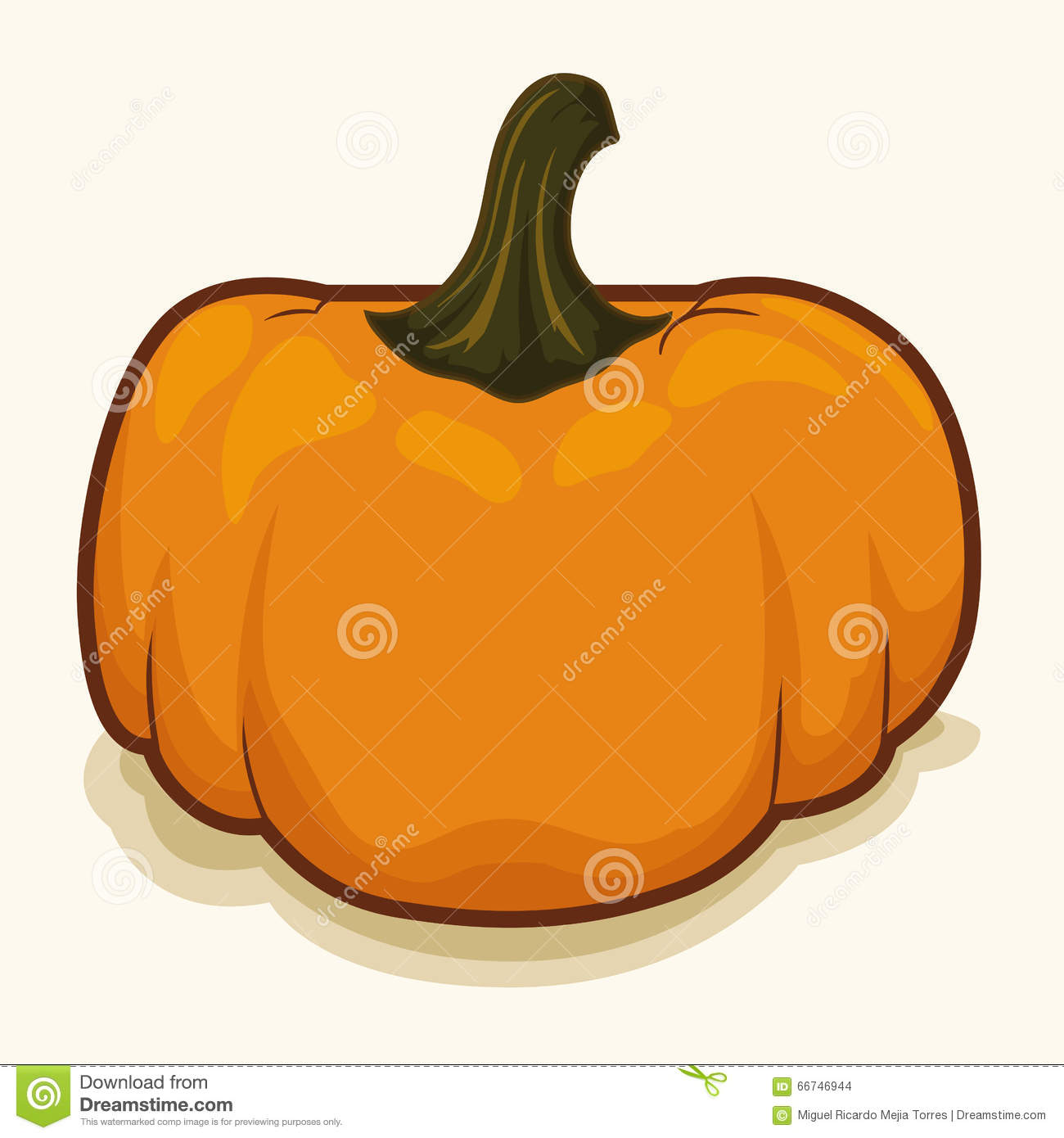 Fresh Pumpkin With Hard Outline Vector Illustration Stock Vector