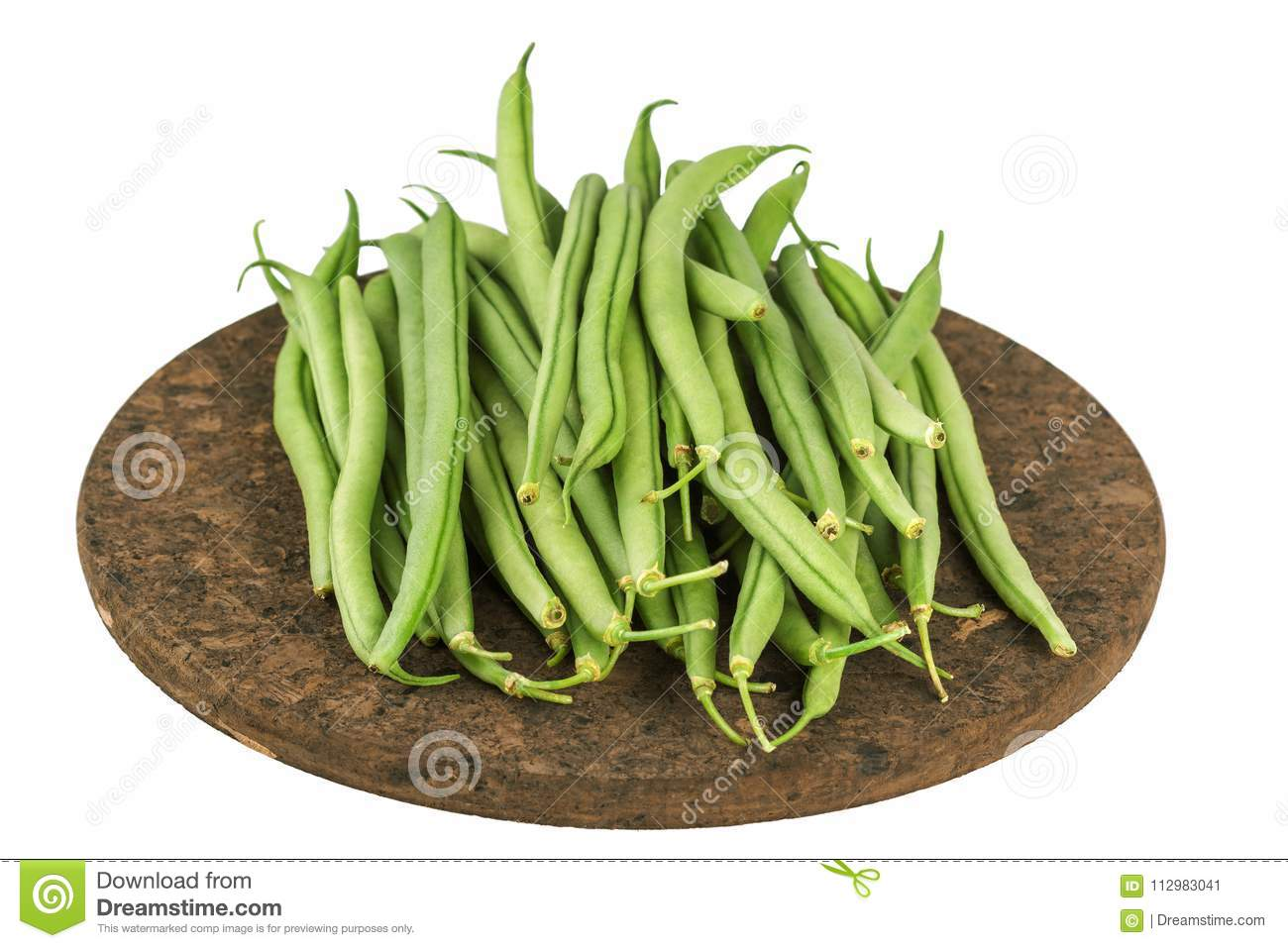 Fresh raw green beans on board isolated on white