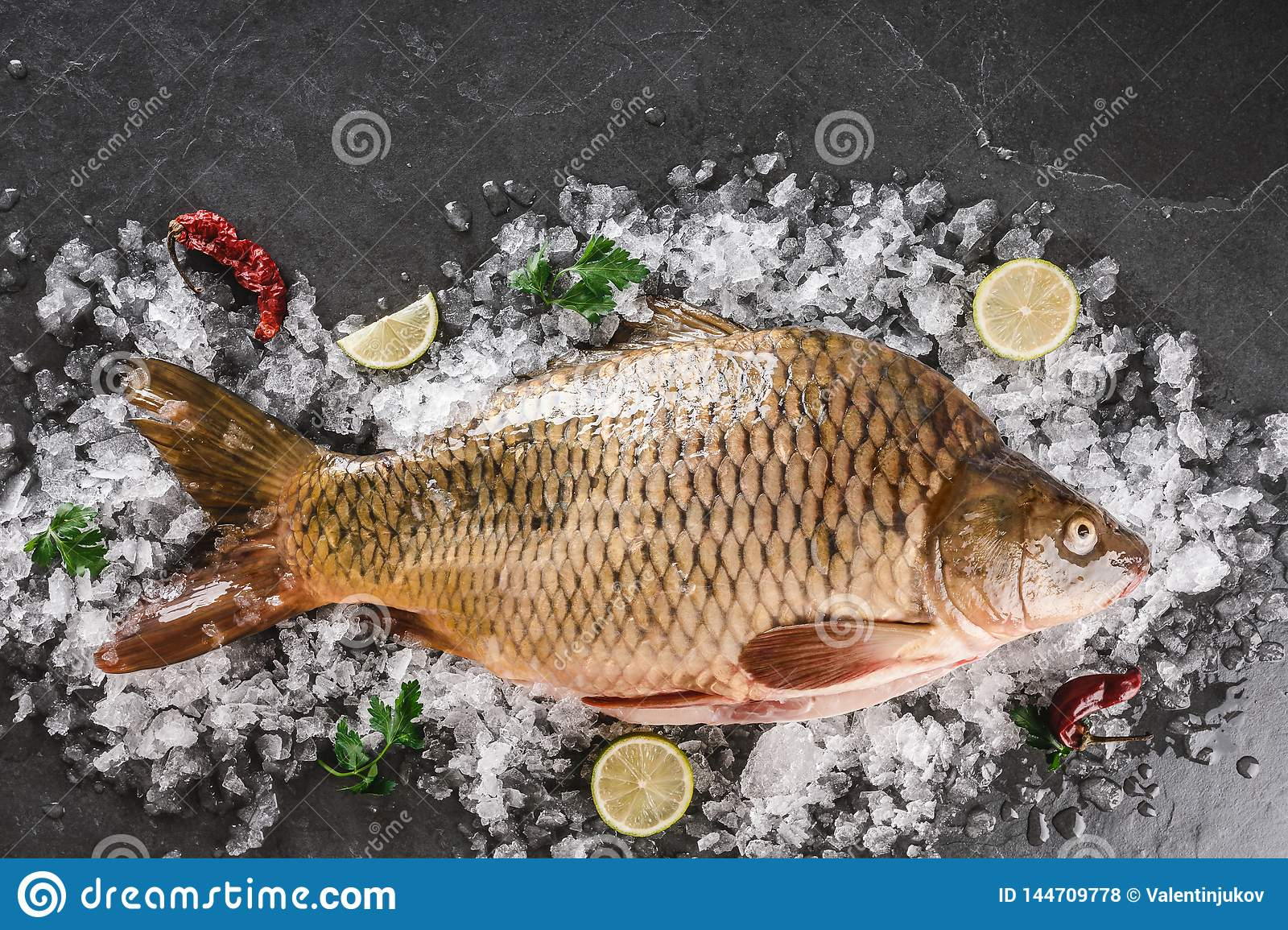 Fresh raw mirror carp fish with spices, lemon on ice over dark stone background. Creative layout made of fish, Seafood, top view