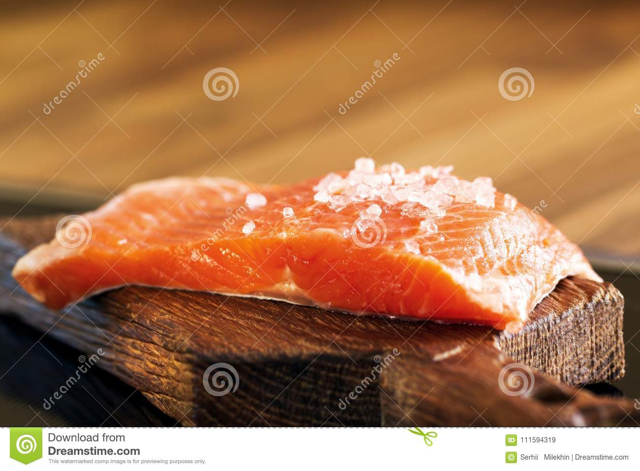 Fresh Raw Salmon And Cooking Ingredients Top View Stock Image