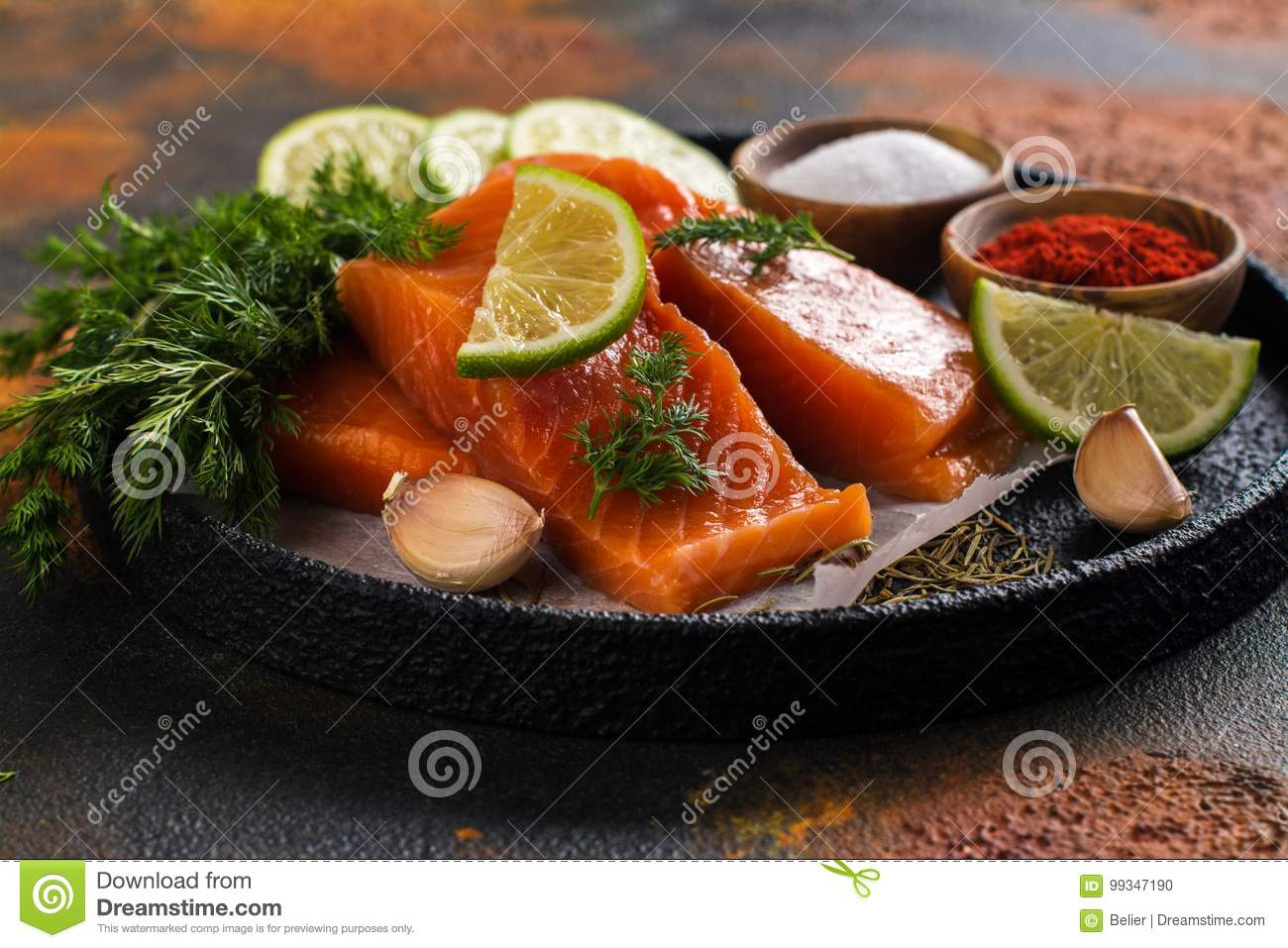 Fresh Raw Salmon Steak Stock Photo Image Of Black Eating 99347190