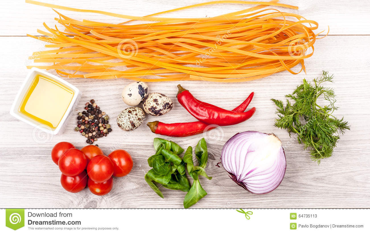 Fresh raw tasty ingridients for pasta