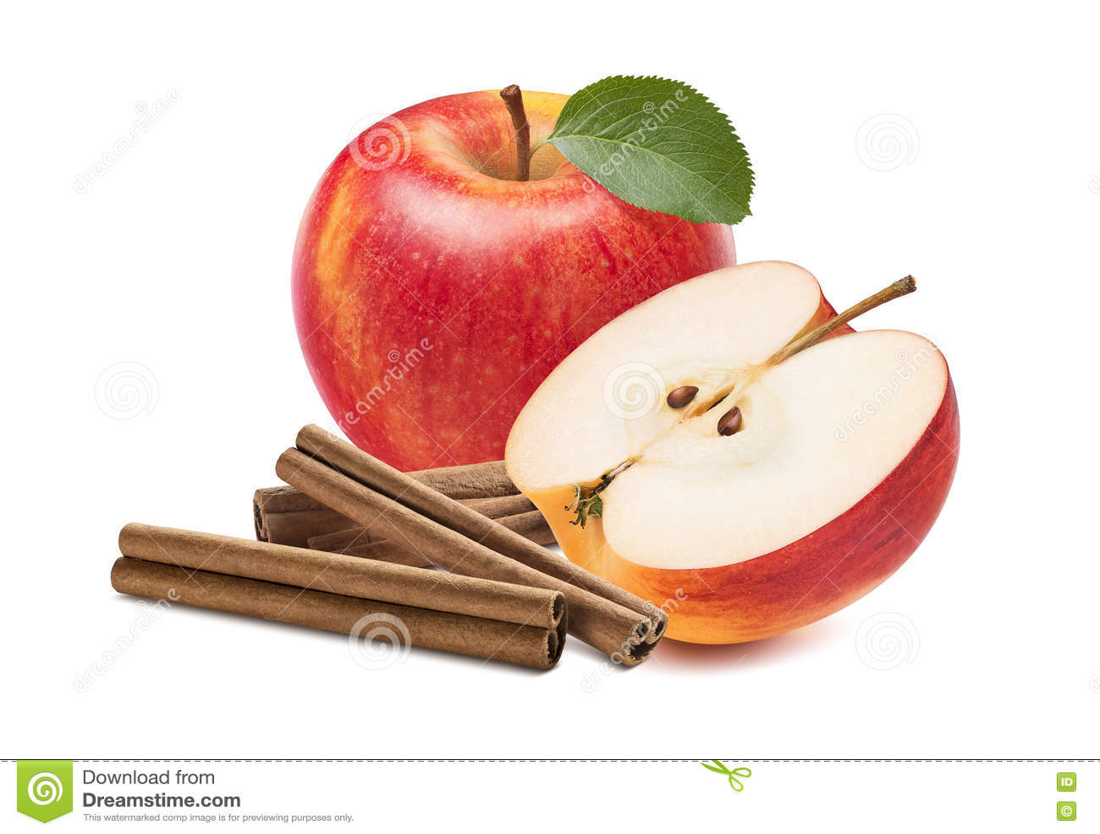 Fresh red apple half cinnamon sticks isolated