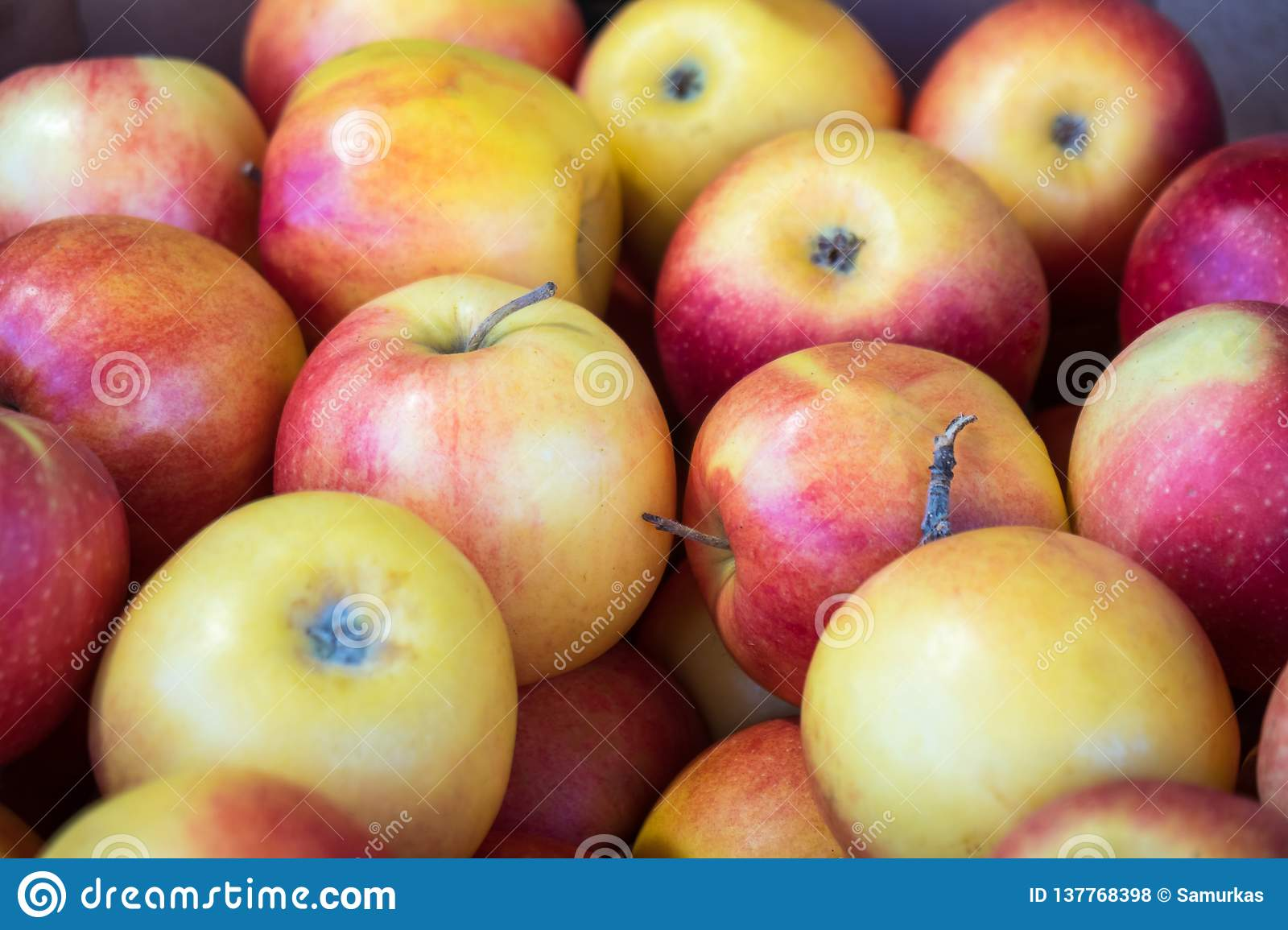 Fresh red apples in a market, healthy food