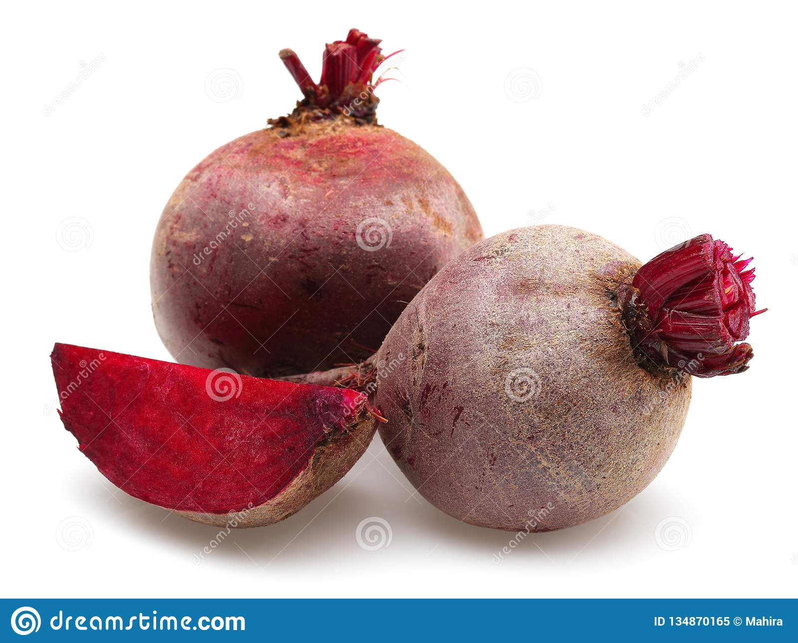 Fresh red beet roots and slice
