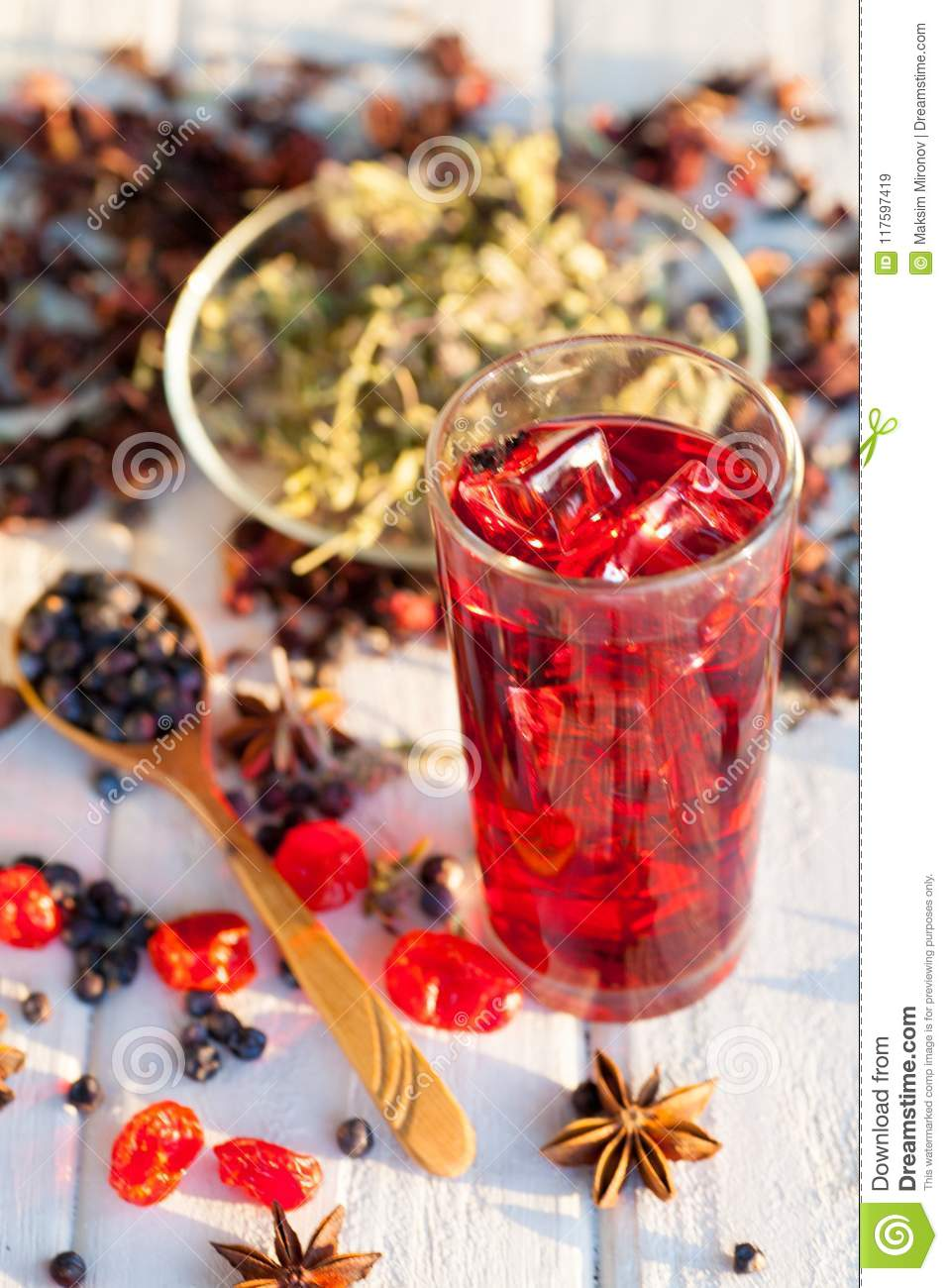 Red Hot Hibiscus Tea In A Glass Mug Stock Image Image Of Hibiscus
