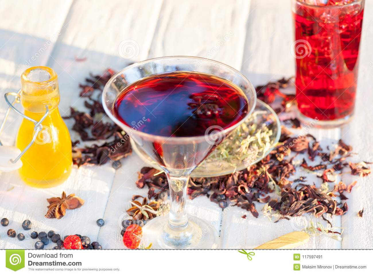 Red Hot Hibiscus Tea In A Glass Mug Stock Image Image Of Digestion