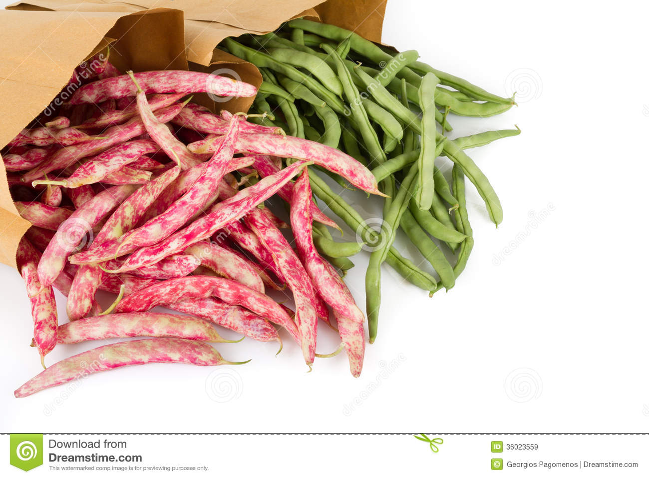 Fresh Red And Green Beans Royalty Free Stock Images