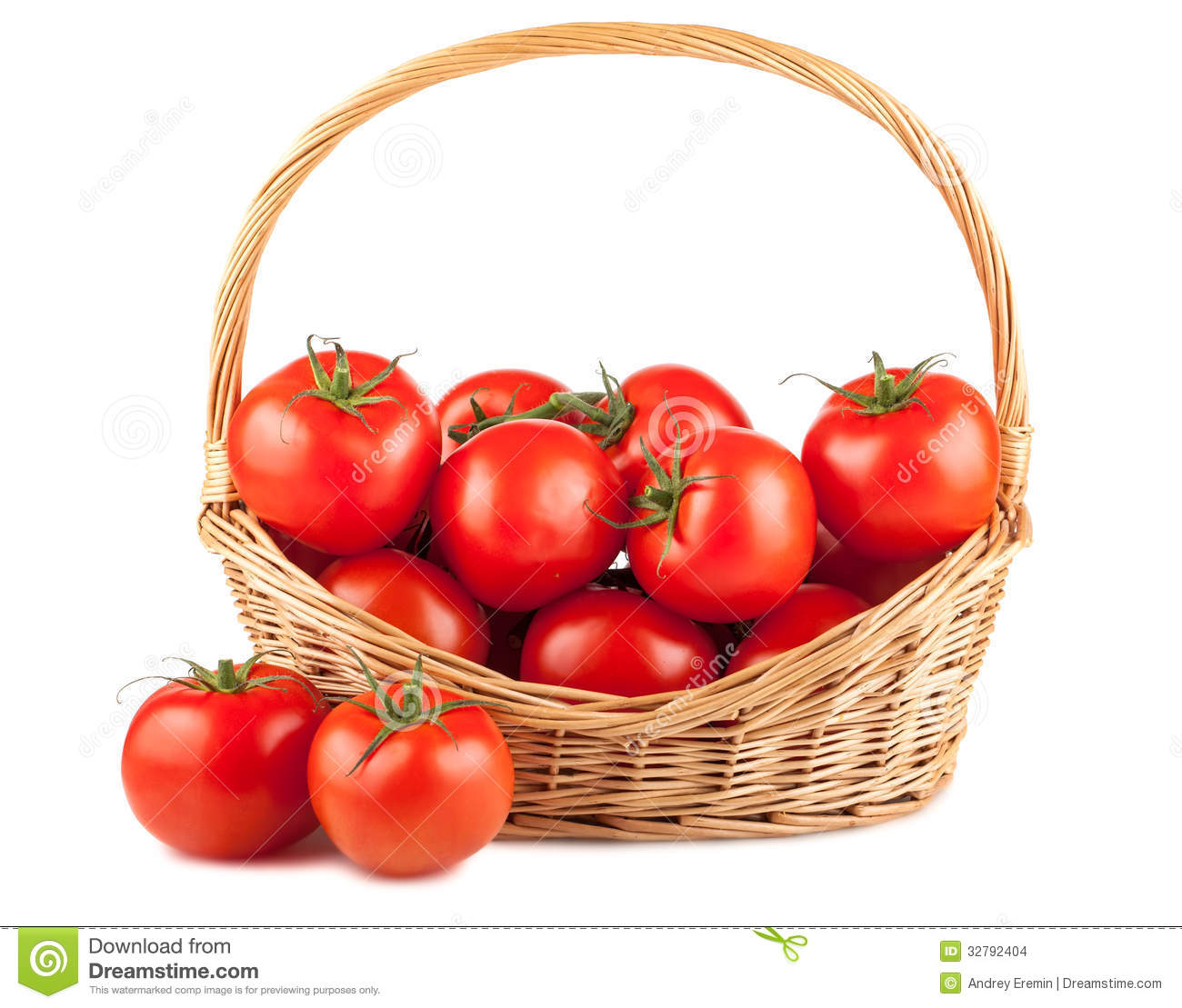 Fresh Red Tomatoes In Wicker Basket Stock Images Image