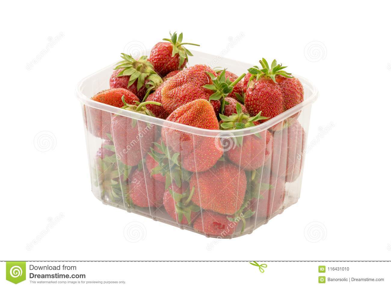 Fresh ripe organic strawberries in transparent plastic retail package. Isolated on white background with clipping path.
