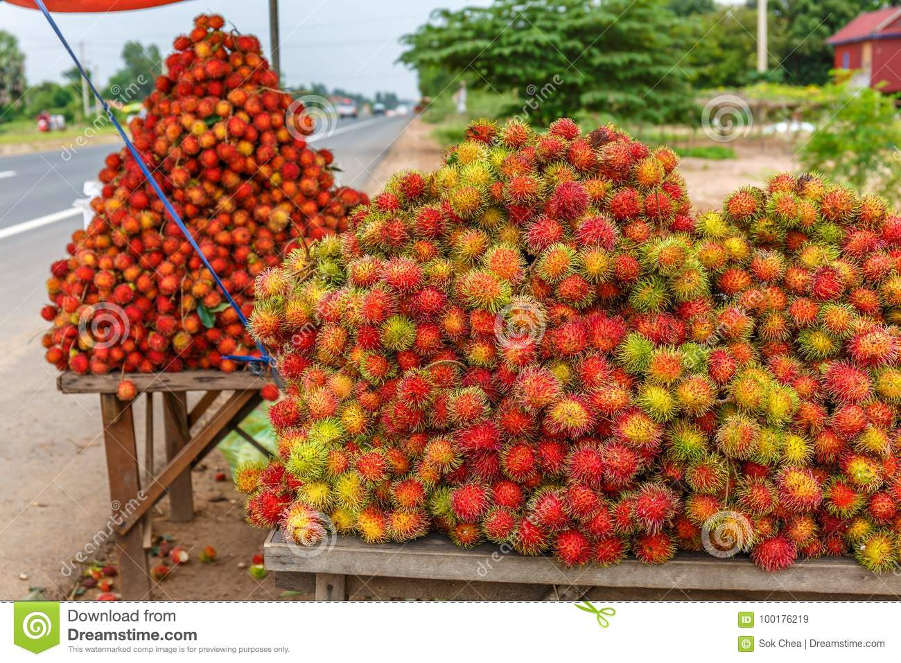 Fresh Ripe Rambutan Displayed for Sale along Highway Is the Popular Healthy Street Food Business