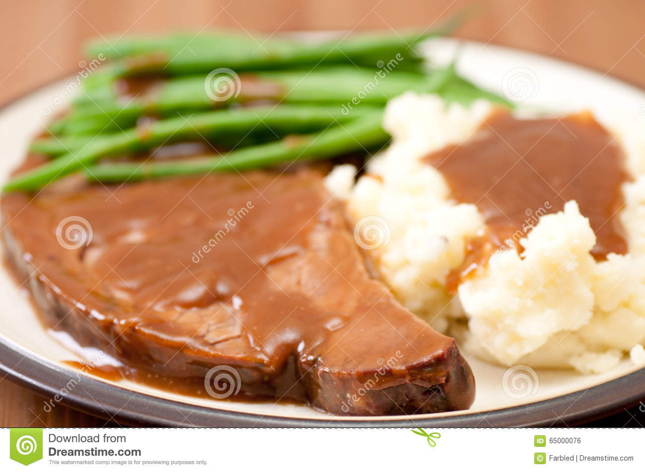 Fresh Roast Beef With Mashed Potatoes Stock Photo - Image ...
