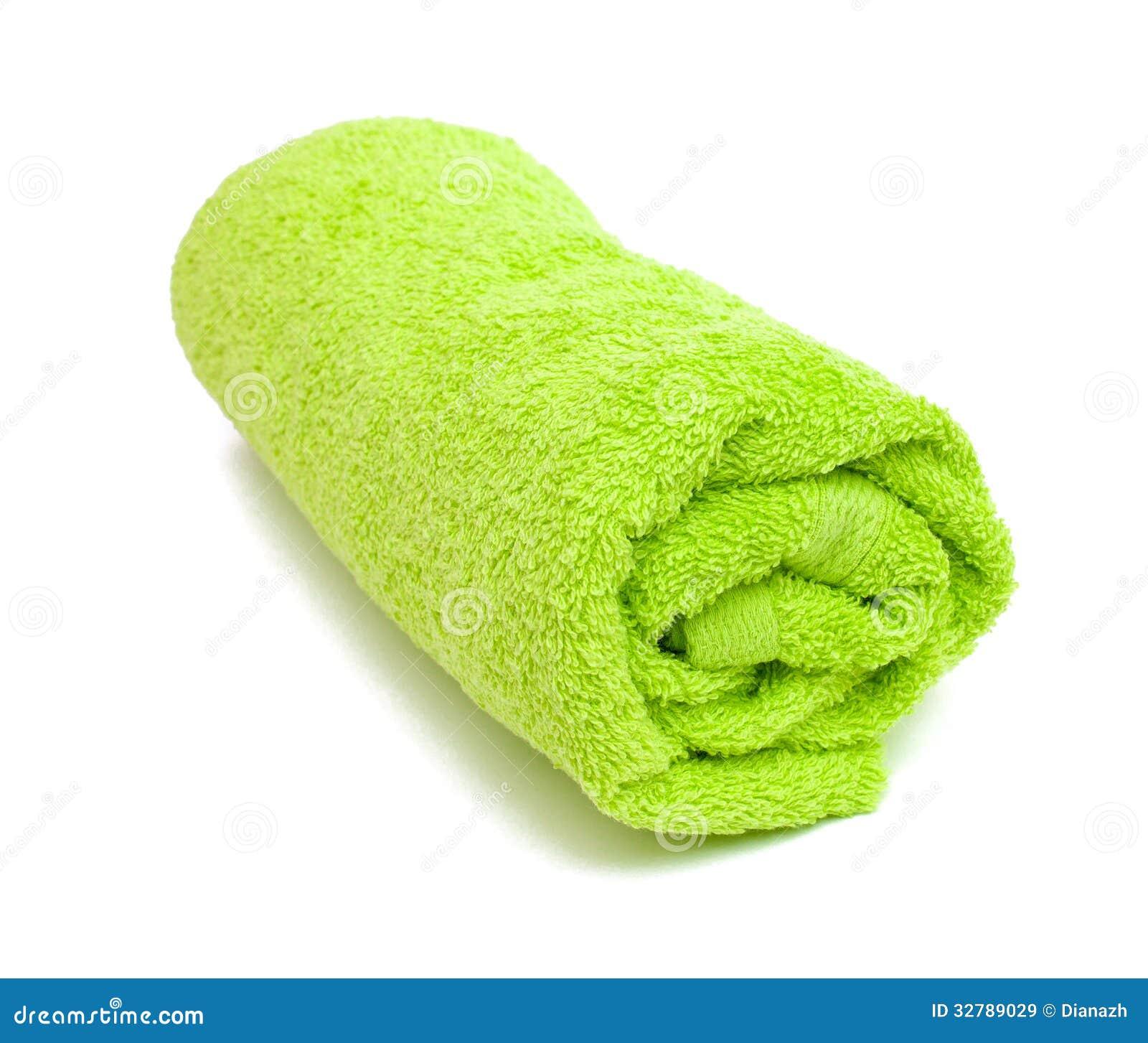 Fresh rolled green towel stock image. Image of orange ...