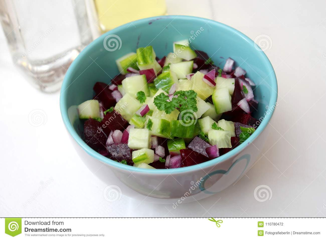 Salad of beet roots with cucumber