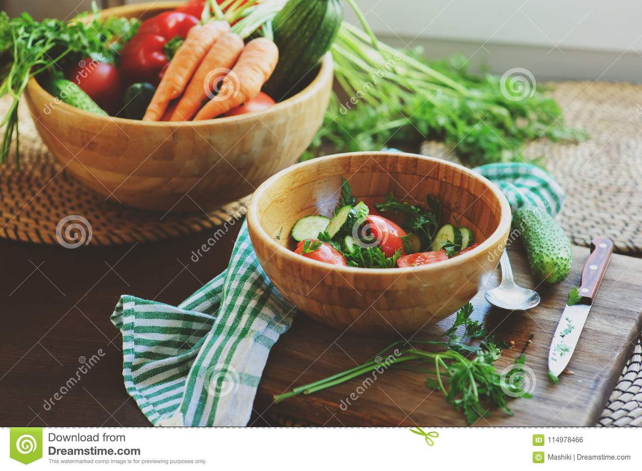 Fresh Salad With Cucumbers And Tomatoes Picked From Farm Garden ...