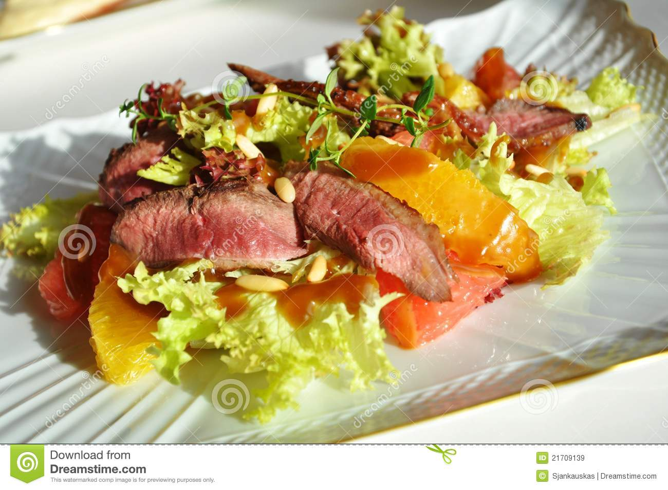 Fresh salad with duck breast