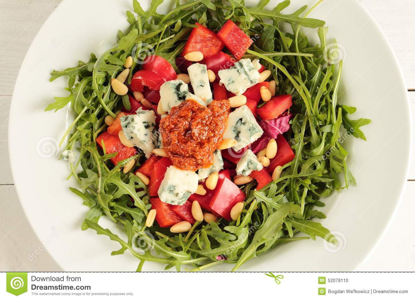 Fresh salad with pesto