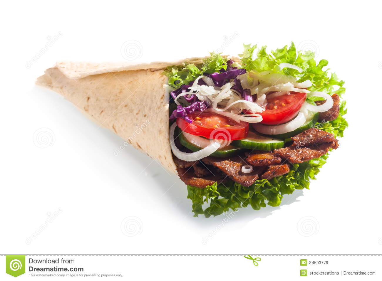 Fresh Salad Taco Or Tortilla Wrap Or Doner Royalty Free Stock Images ...