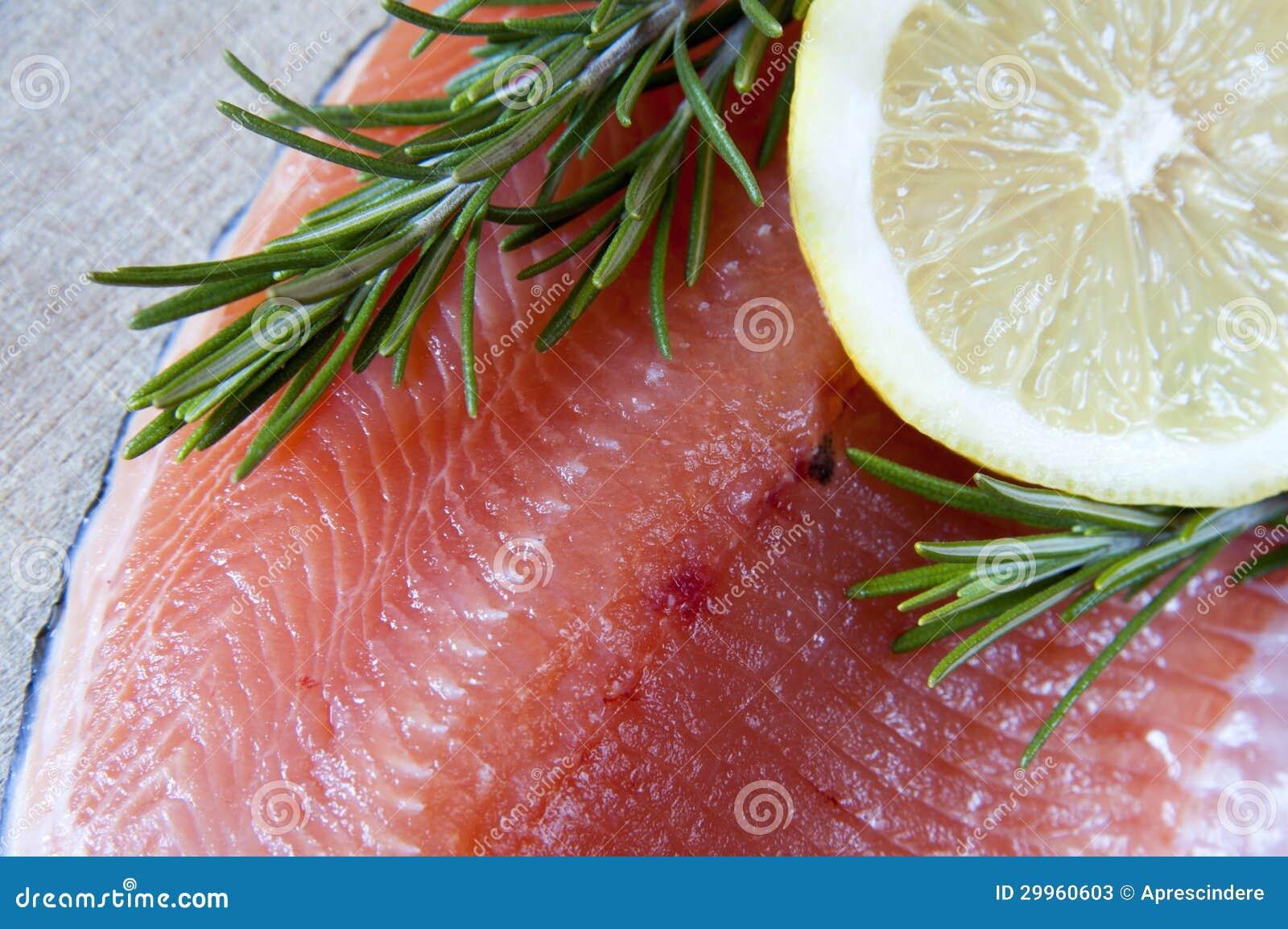 Fresh salmon and lemon