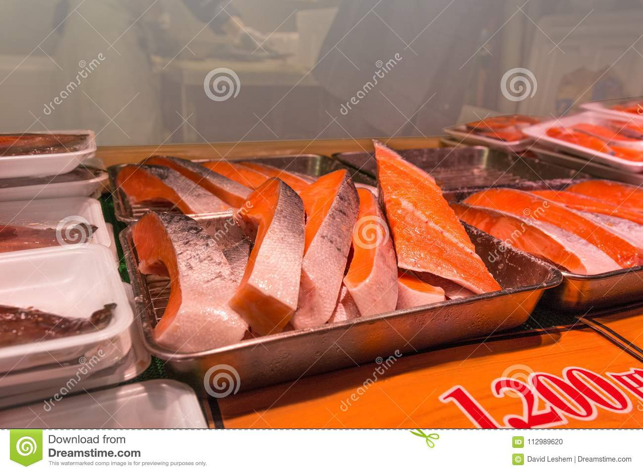 Fresh Salmon meat serving on sale