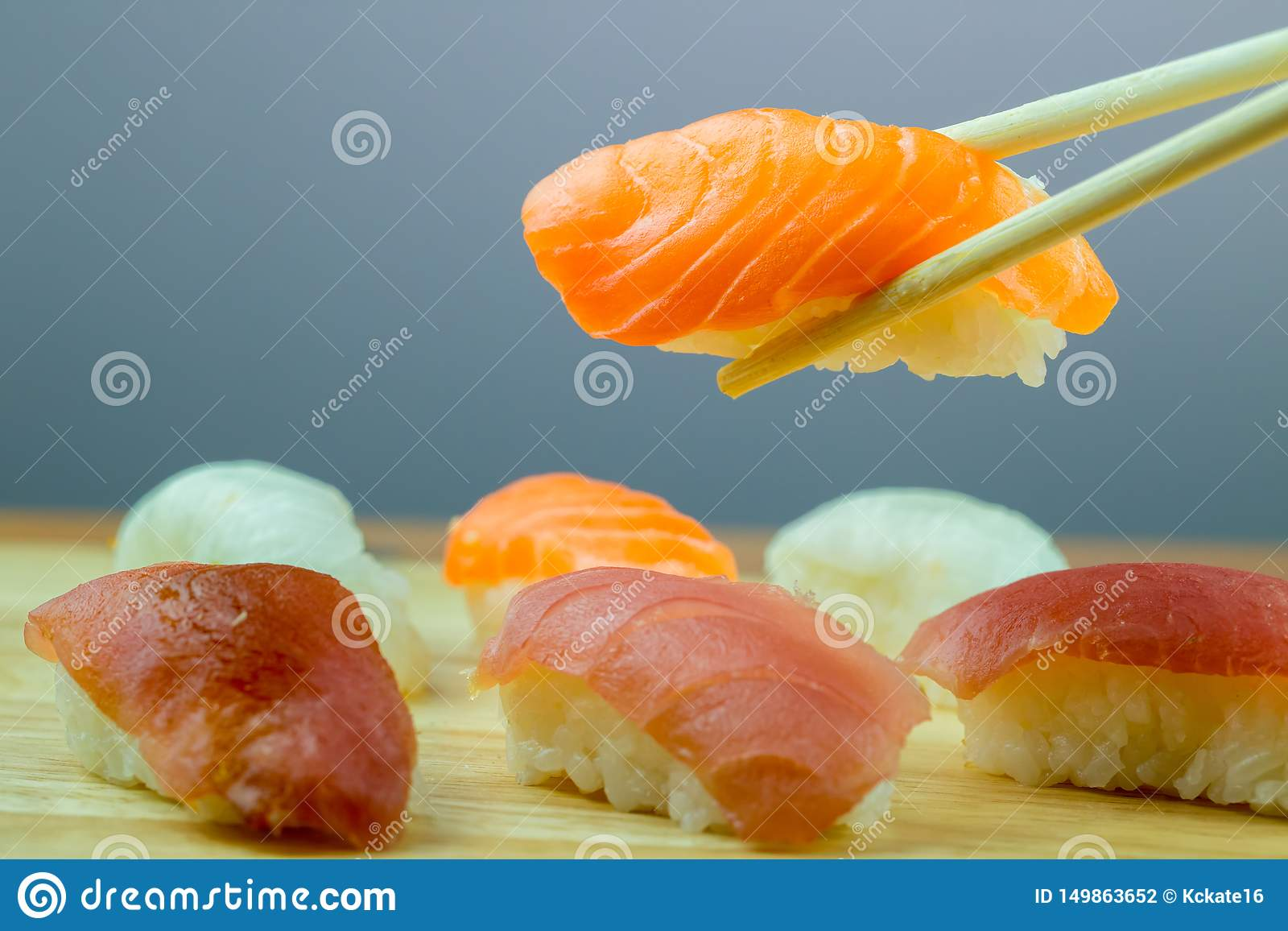 Fresh salmon sushi , salmon maki roll Japanese food restaurant, salmon sushi on plate.