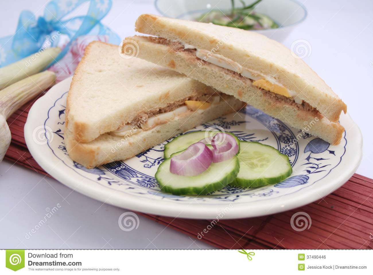Fresh sandwich with tuna fish royalty free stock image for Tuna and egg sandwich