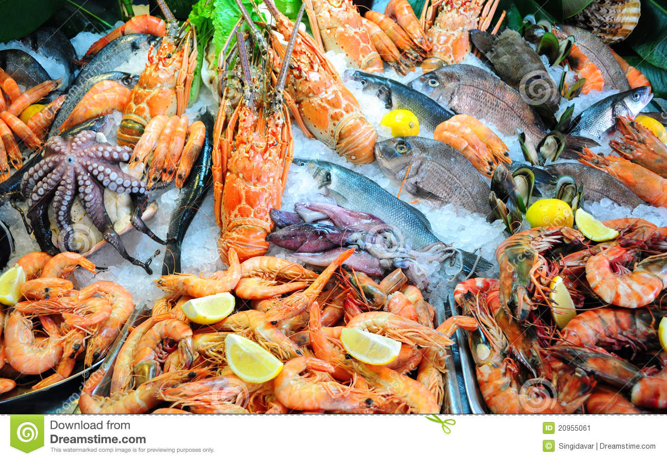 Fresh seafood stock image image of crete fish frozen for Is fish seafood