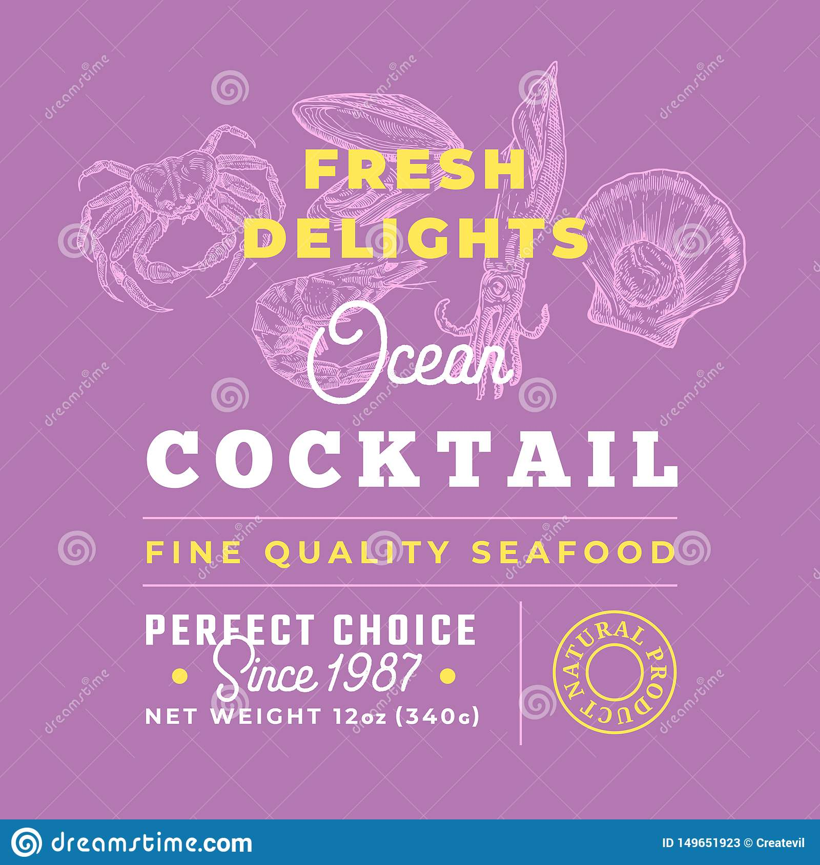Fresh Seafood Cocktail Delights Premium Quality Label. Abstract Vector Packaging Design Layout. Retro Typography with