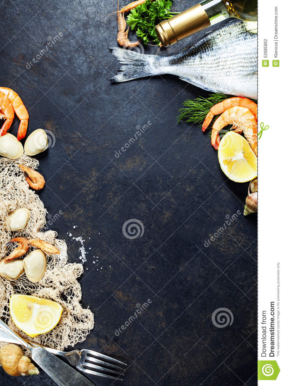 Fresh seafood stock photo image 52685862 for Aromatic herb for fish