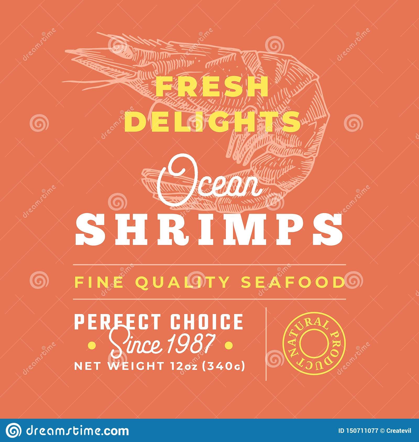 Fresh Seafood Delights Premium Quality Label. Abstract Vector Packaging Design Layout. Retro Typography with Borders and