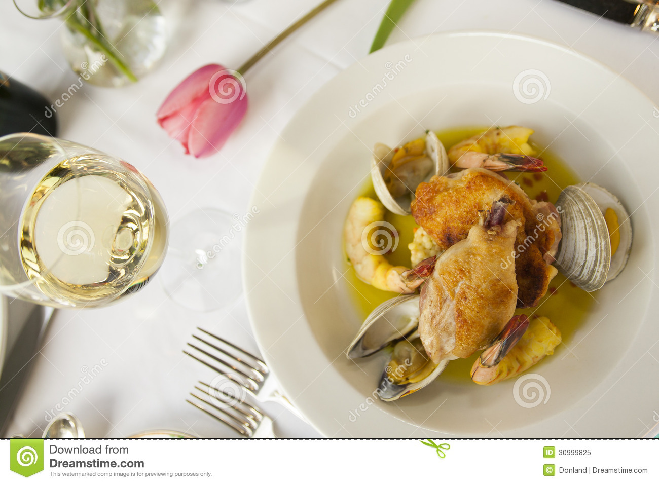 Fresh Seafood Dinner Plate. Royalty Free Stock Photo ...