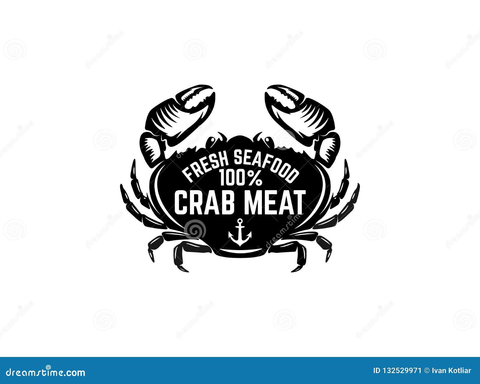 Fresh Seafood Emblem Template With Crab Illustration Design
