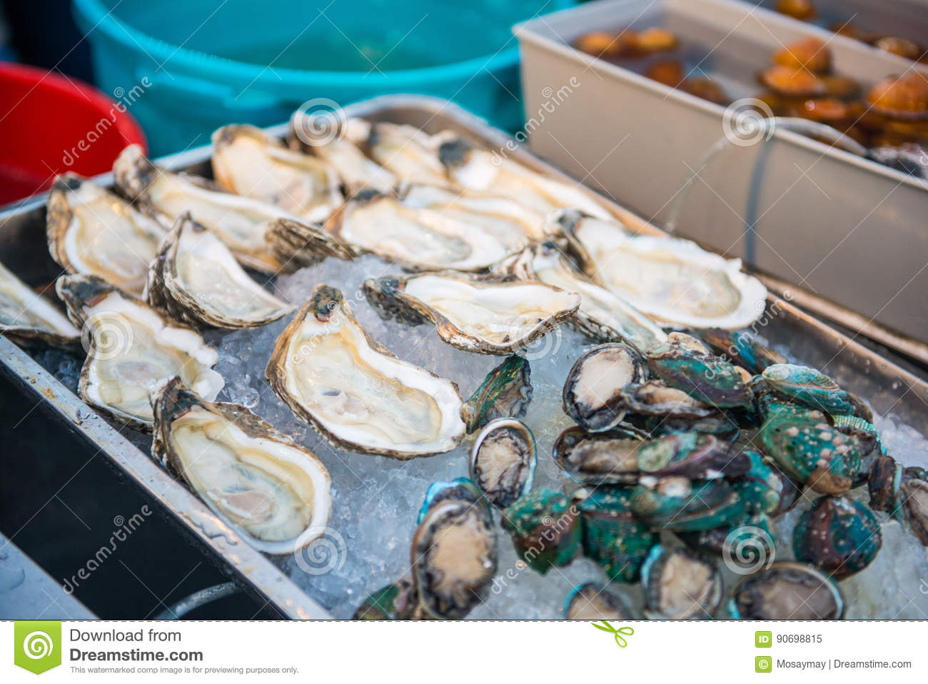 Fresh seafood on ice in market