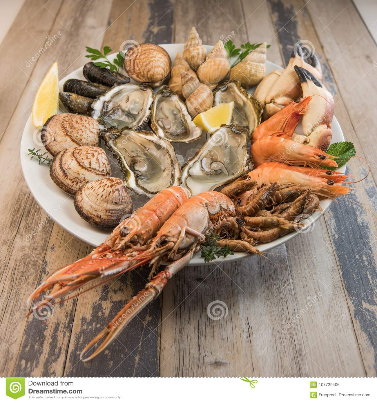 Fresh Seafood Platter With Lobster Mussels And Oysters Stock Photo Image Of Meal Presentation 107739406