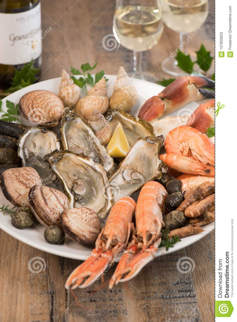 Fresh Seafood Platter With Lobster Mussels And Oysters Stock Image Image Of Bulot Presentation 107850633