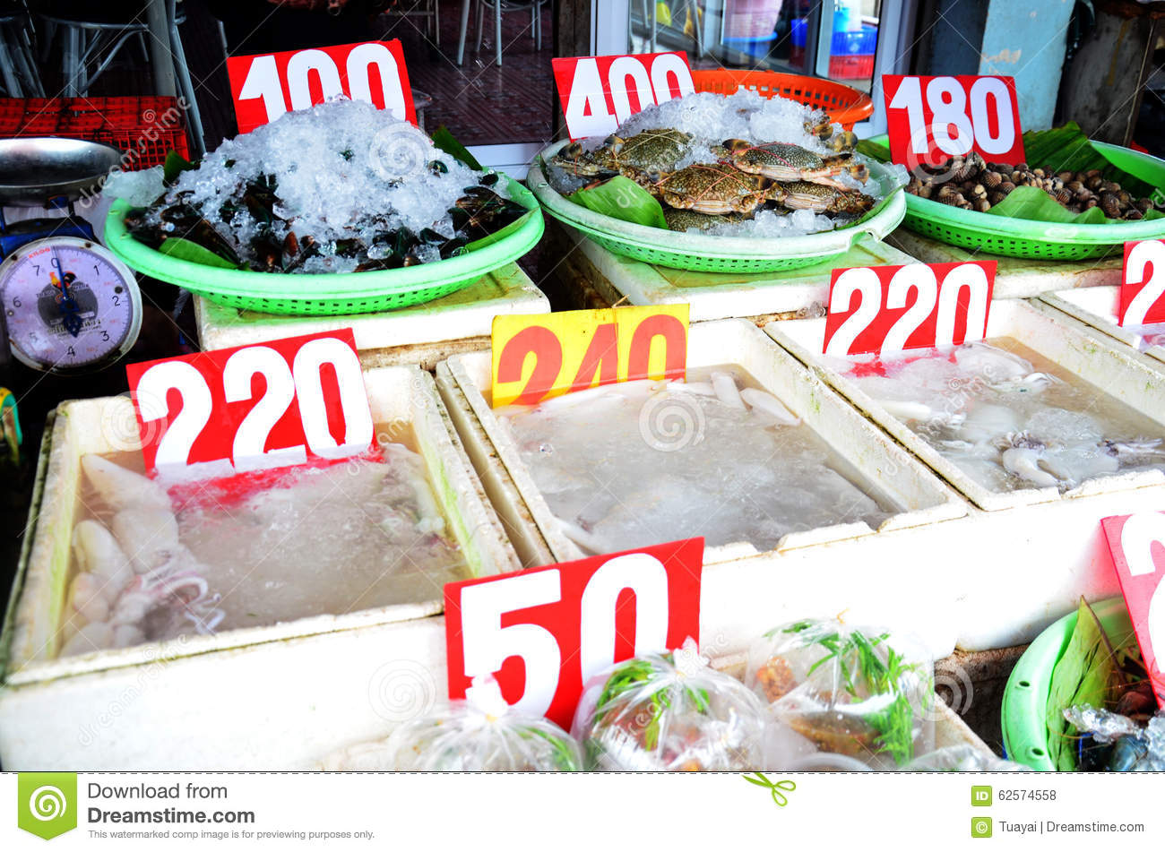 Fresh Seafood For Sale At Market Editorial Stock Photo - Image of