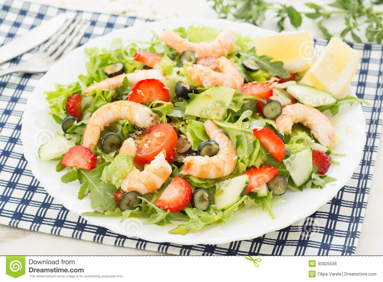 Fresh Shrimp Salad With Lettuce; Berries And Rocket Stock Photo ...