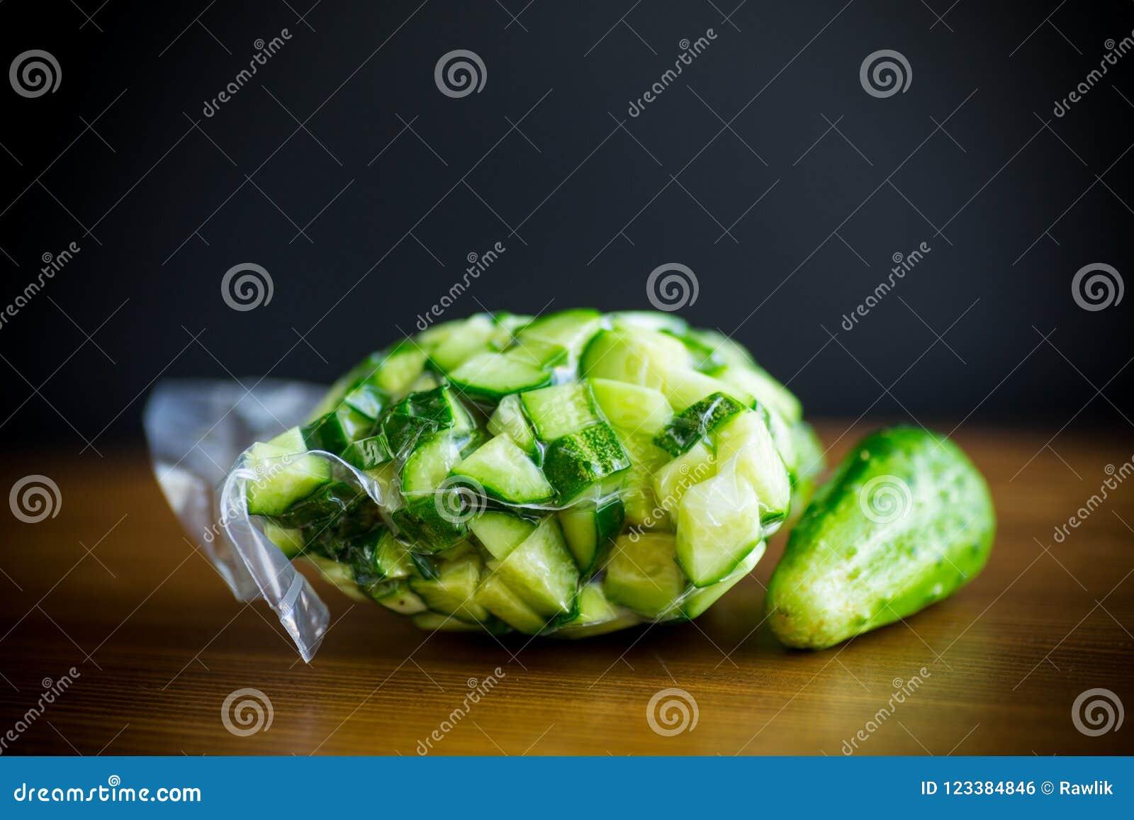 Fresh sliced cucumbers in a vacuum package