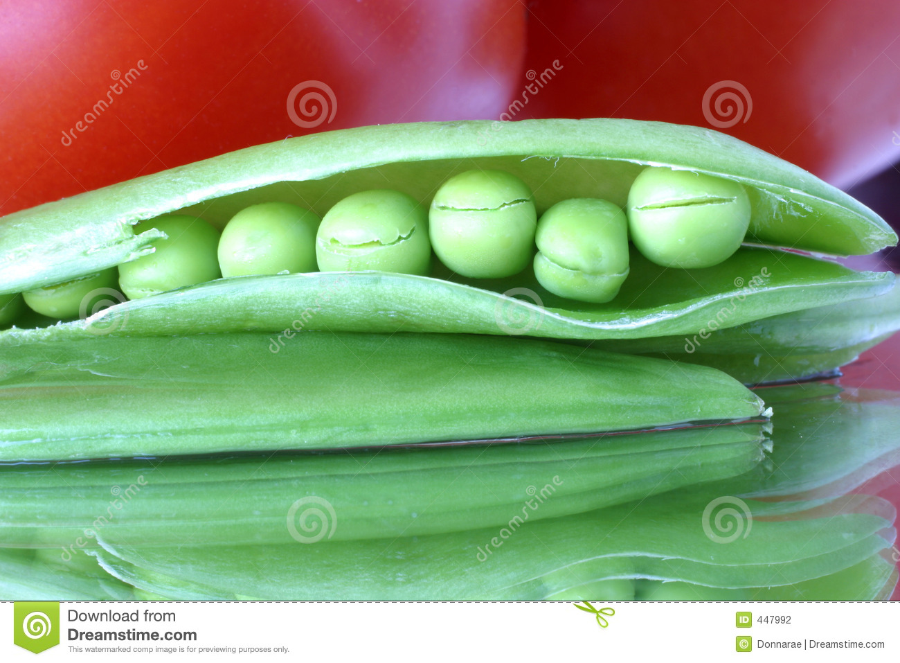 Fresh snow peas in a pod close-up. A colorful abstract