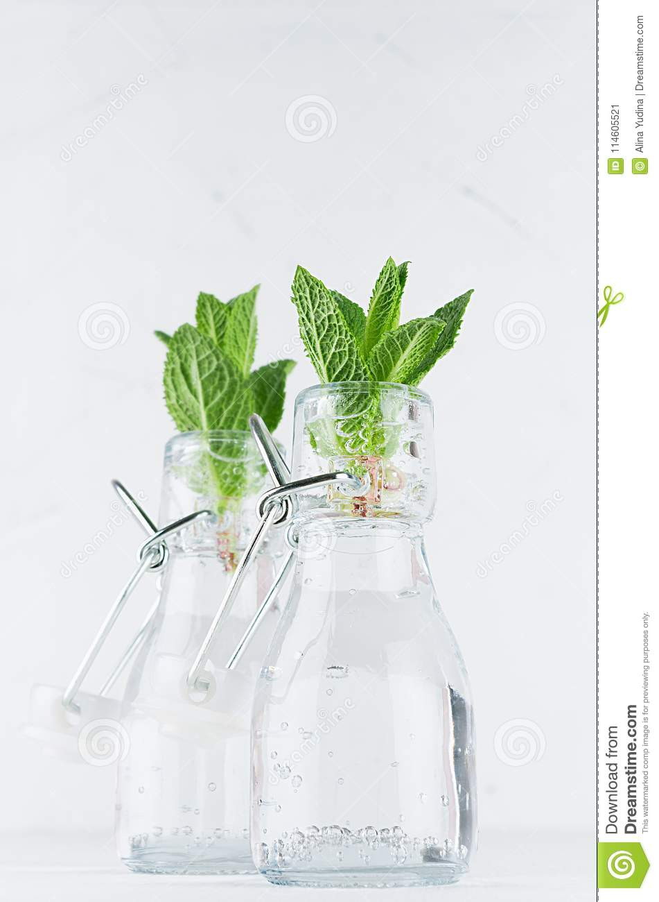 Fresh Spring Background Green Mint Twigs Closeup In Bottles On