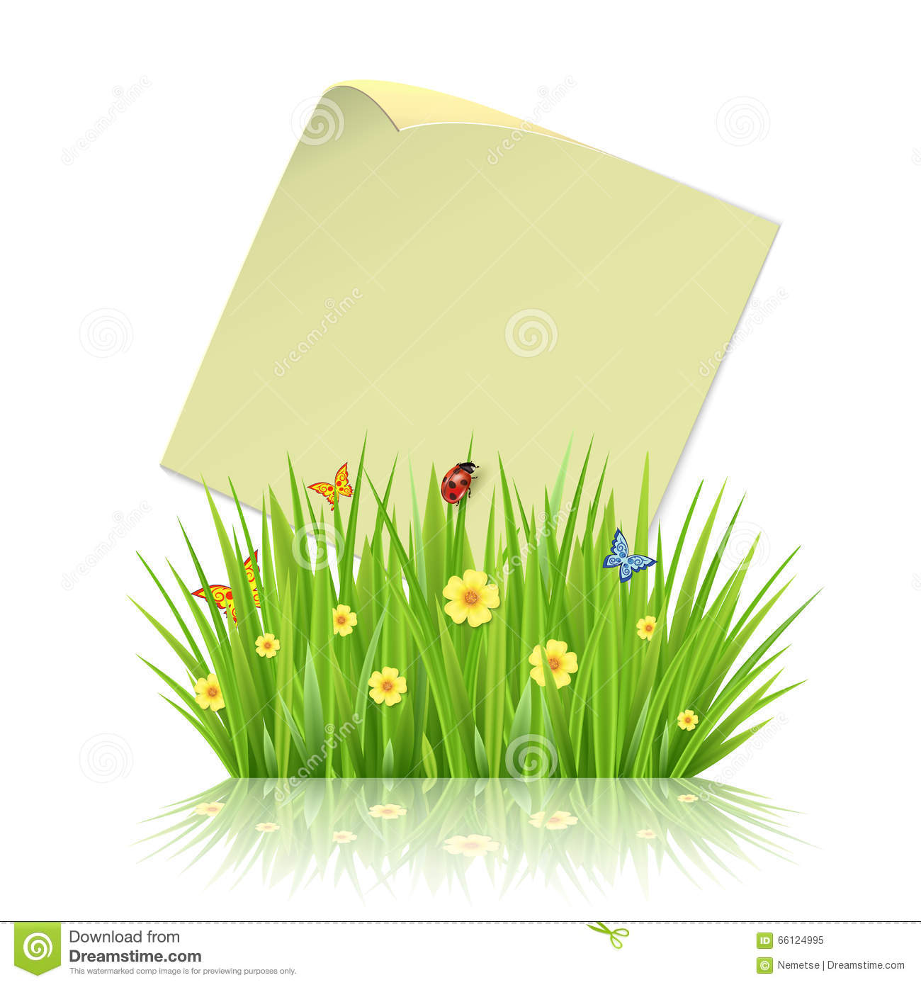 Fresh spring green grass frame template with curling blank sheet.